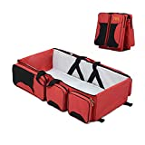 Crib Bassinet Changer Combo MIWORM Universal 3-in-1 Multipurpose Portable Baby Changing Pad,Diaper Bag,Foldable Travel Bassinet,Baby Playpen (RED)