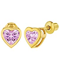 18k Gold Plated Pink CZ Small Heart Screw Back Toddlers Girls Earrings