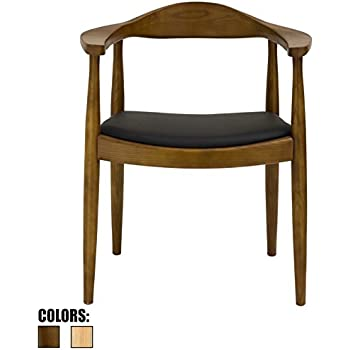 2xhome   Walnut Modern Solid Real Oak Wood PU Leather Cushion Seat Kennedy  Chair With Arm