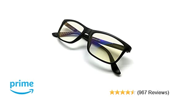 7a7457901d Amazon.com  J+S Vision Blue Light Shield Computer Reading Gaming Glasses -  0.0 Magnification - Anti blue light 100% UV protection Low color  distortion