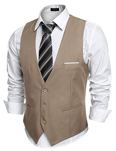 COOFANDY Mens Top Designed Slim Fit Business Dress Vest Waistcoat