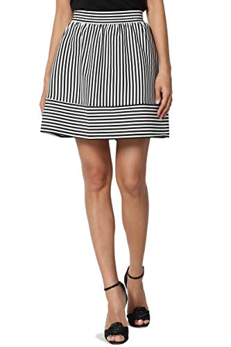 TheMogan Junior's Striped Scuba Knit High Waist Flirt Flared Mini Skirt Black L