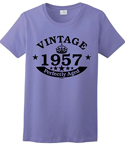 60th Birthday Gift Dad - 60th Birthday Gifts for Dad 60th Birthday Gift Vintage 1957 Perfect Aged Crown Ladies T-Shirt Medium Violet