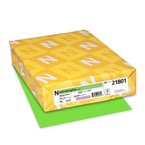 "Astrobrights Colored Cardstock, 8.5"" x 11"", 65 lb / 176 gsm, Martian Green, 250 Sheets"