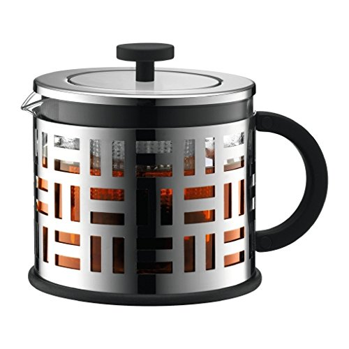 Bodum Eileen - Modern Tea Press - Allows Tea Leaves to Move Freely While Brewing - Glass - 1.5l - Silver by Bodum