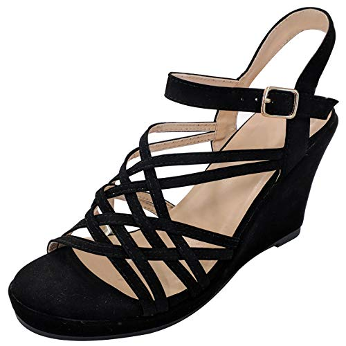 TravelNut Best Comfortable Middle Mid Midi Stacked Heel Wedge Dress Sandal Shoe for Women Teen Girls Ladies (Black Size 7.5)