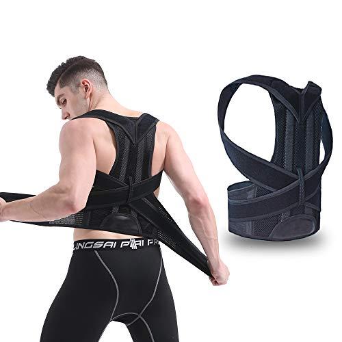 New! eAnjoy Sports Back Brace Posture Corrector for Women and Men; Back Support/Back Straightener Posture Corrector with Dual GFRP Brace Bars Support (L) (Para Hombres)