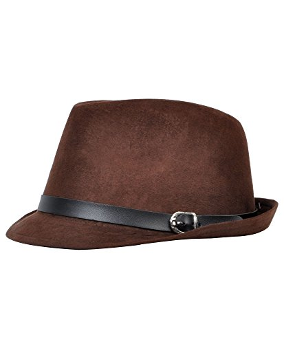 Wear Fedora Hat - Men's All Season Fashion Wear Fedora Hat (L/XL) (L/XL, Brown)