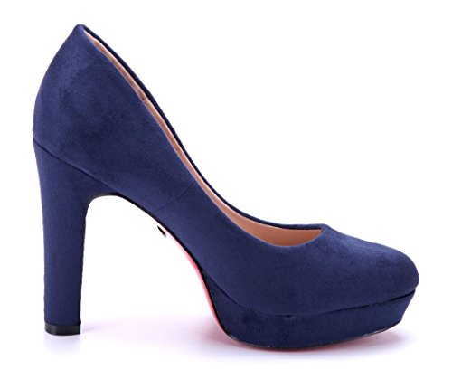 Schuhtempel24 Damen Schuhe Plateau Pumps Blau Trichterabsatz 11 cm High Heels