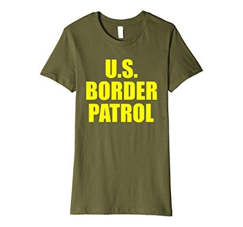 Womens American Border Patrol costume Shirt Medium Olive ()