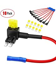 Nilight 10 Pack Micro 2 Fuse TAP 12V Car Add a Circuit ATR Blade Fuse Adapter with 20A Fuse Micro II Fuse Holder Add On Dual Circuit Adapter for Cars Trucks Boats (50058R)