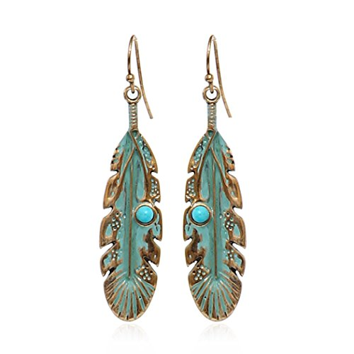 Retro Gold Silver Plated Leaves Feather Round Bead Personality Women Dangle Earring Jewelry (gold)
