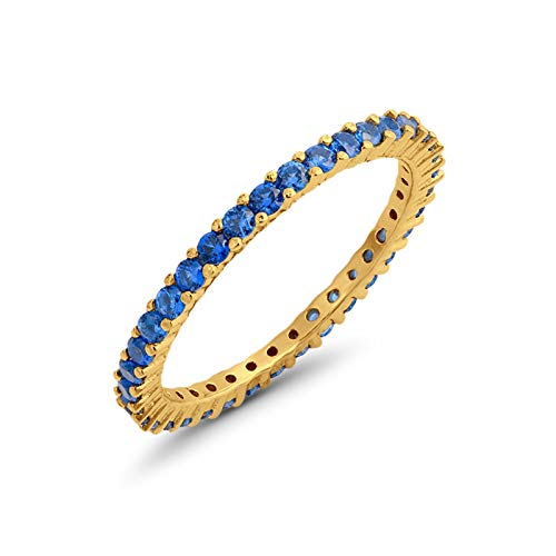 Full Eternity Stackable Wedding Band Ring Yellow Tone Simulated Light Blue Sapphire Cubic Zirconia 925 Sterling Silver Size-11