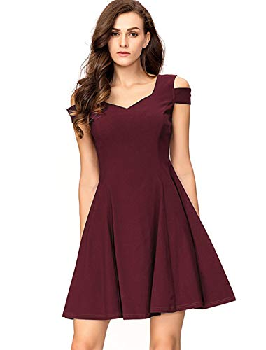 InsNova Women's Cold Shoulder Little Cocktail Party A-line Skater Dress (X-Large, Burgundy)