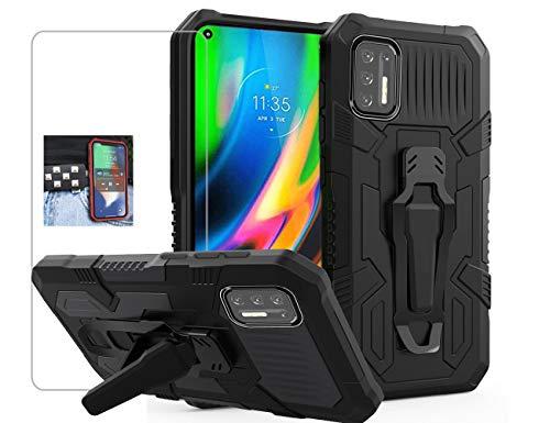 Funda Resistente + Vidrio Templado Motorola G9 Plus Negro