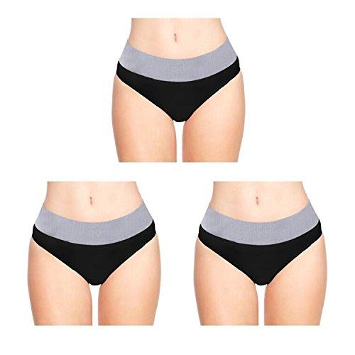 LastFor1 Women's Underwear Briefs Sport Comfort Soft Breathable Mid Rise Stretch Nylon Plus Size Panties 3 Pack Black M