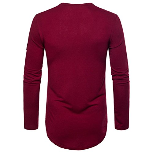Wine Men's Red Long Sleeved PASATO Joint Blouse Pure Top Sweatshirts Autumn Color vdOqd