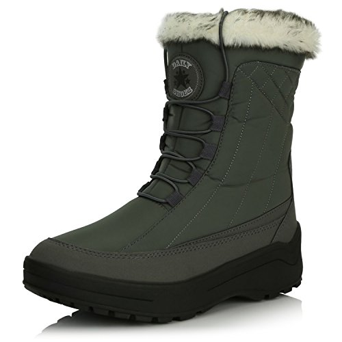 (DailyShoes Women's Woman's Ankle High Locked Lace Up Warm Fur Water Resistant Eskimo Snow Boots, Gray, 8 B(M))