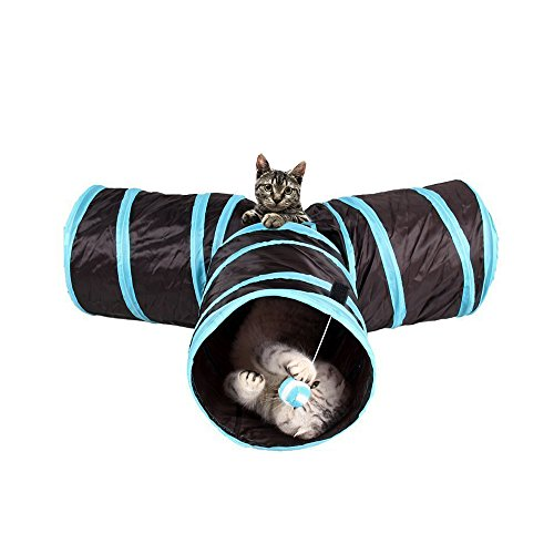 Creaker 3 Way Cat Tunnel, Collapsible Pet Toy Tunnel Ball Cat, Puppy, Kitty, Kitten, Rabbit