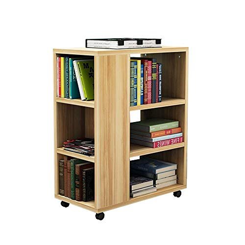 (YueQiSong Creative Mobile Bookshelf Children's Bookcase Floor Cabinet Storage Cabinet Storage Rack with Wheel Rack Sofa Side 29 55 70 cm, b)