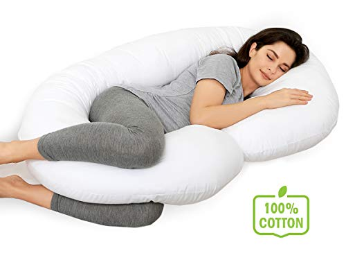 Marine Moon Pregnancy Pillow - Pregnancy Body Pillow and Maternity Pillow for Sleeping with 100% Cotton Cover (White)