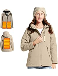 Women's Heated Jacket with Hood Waterproof Wind Resistant and Anti-fouling(Power Bank not Included)