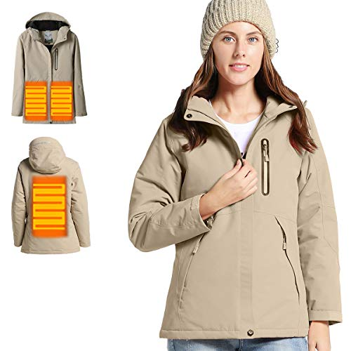 - VENUSTAS Women's Heated Jacket with Hood Waterproof Wind Resistant and Anti-fouling