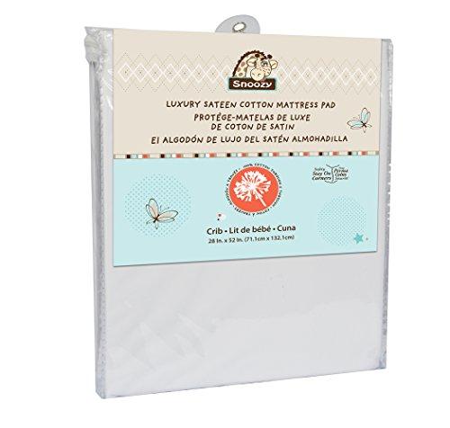 Cotton Sateen Mattress Pad - Snoozy Luxury Sateen Cotton Waterproof Crib Mattress Pad