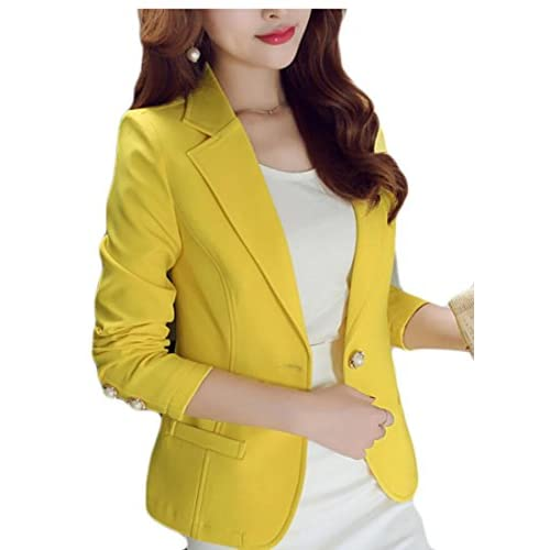 Discount Alion Women's Slim Fit One Button Notched Lapel Solid Color Blazer Suit Jacket free shipping