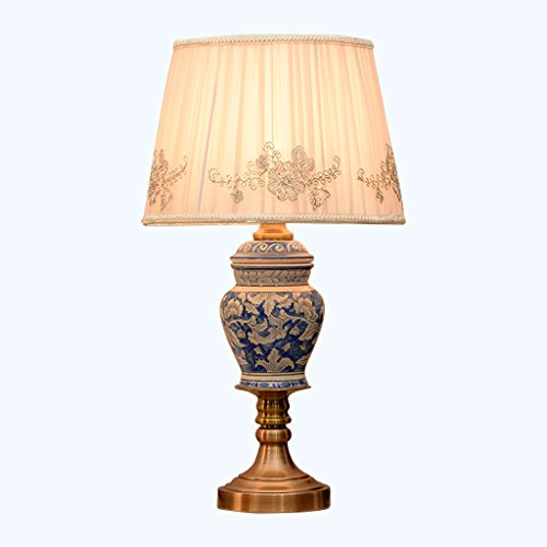 ALUS- Ceramic Table Lamp Hand-Painted Blue and White Porcelain Surface is Suitable for All Bedrooms and Living Room E27 (Size : ()
