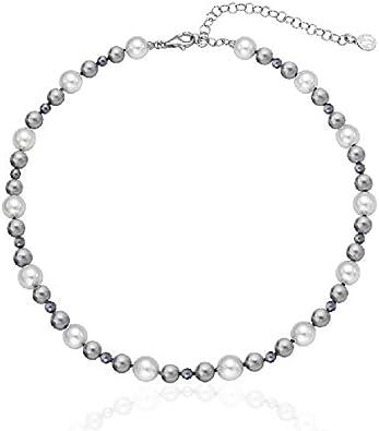 Majorica 16502.21.2.000.010.1 Collar Mujer Plata Perlas Multicolor 6/8/10 mm Medida 40/45 cm