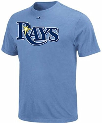 Majestic Tampa Bay Rays Alternate Wordmark T-Shirt Big and Tall Sizes - Light Blue ()