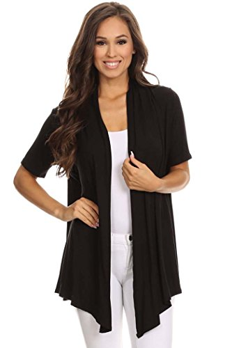 Women's Solid Short Sleeves Open Front Cardigan. MADE IN USA (L, HotPink)