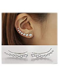 Elensan 7 Crystals Ear Cuffs Climber 925 Sterling Silver Hypoallergenic Earring for woman