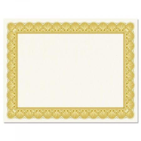 Gold Certificate on White Parchment - Set of 50, 8-1/2'' x 11'' on 60 lb. Text Parchment Paper, Laser and Inkjet Printer Compatible by Current