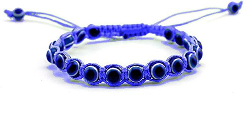 MyevilEye Colorful Bangle Braided String Cord Evil Eye Bracelet For Kids and Adults (Blue)