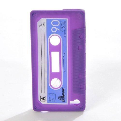 Purple Silicone Cassette Tape Case Skin Cover for Apple iPhone 4S / iPhone - Iphone Cassette Tape Case 4s