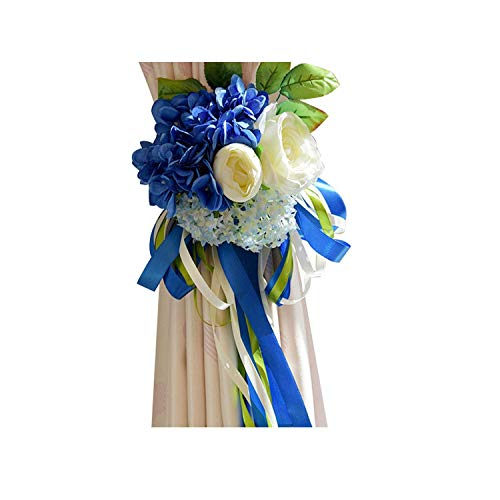 Sweet-Candy artifical flowers Silk Artificial Hydrangea Flower Ball Mini Red Rose White Peony Wedding Home Party Curtain Decoration Curtain Flower,Blue]()