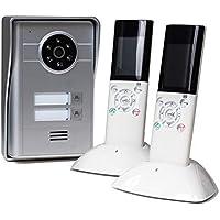 2 Familienhaus Funk Video-Türsprechanlage, Türklingel mit Kamera und Türöffner, 2X Mobilteile