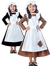 amscan 9901689 - Disfraz de niña victoriana con sombrero y delantal adjunto, edad 7-8 años, 1 unidad