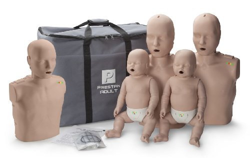 Prestan Family Pack of CPR Manikins (2 Adult, 1 Child, 2 Infant) Medium Skin with Rate Monitors, - Airways Ms