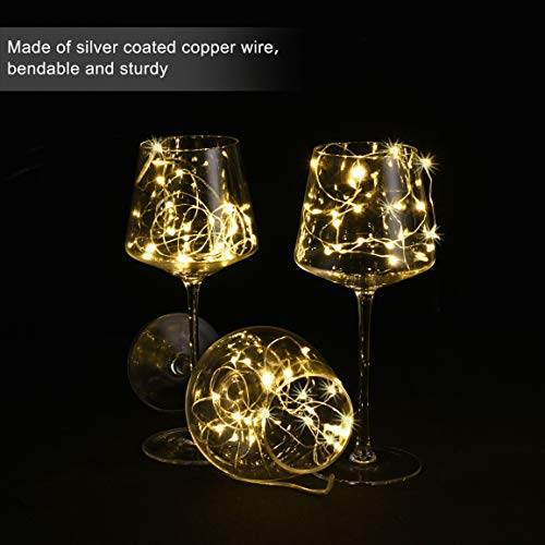 HAOSEE 24 Pack Led Fairy Lights Battery Operated,3.3Ft 20 LED Silver Wire Warm White Firefly Lights,Waterproof Mini Starry String Lights Twinkle Lights for Wedding Party Mason Jars DIY Christmas Decor by HAOSEE (Image #3)