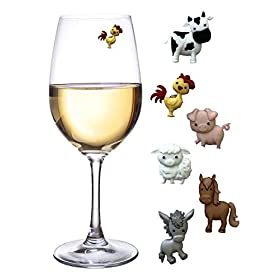 Barnyard Animal Wine Charms – Magnetic Glass Markers and Identifiers Set of 6 by Simply Charmed