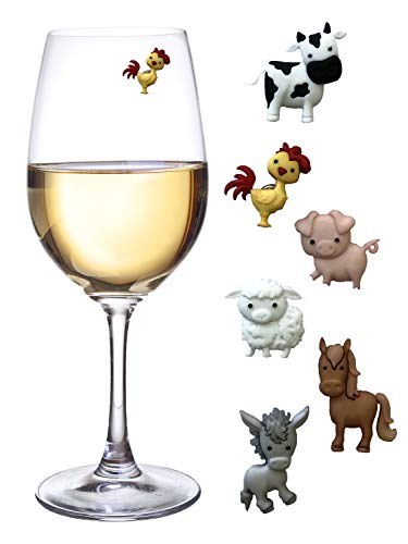 - Barnyard Animal Wine Charms - Magnetic Glass Markers and Identifiers Set of 6 by Simply Charmed