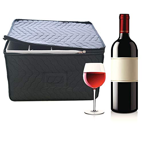 Multi-layer Thicken Champagne Flute Storage Chest - Deluxe Quilted Case with Dividers - Service for 12 - Great glassware storage for Protecting or Transporting Champagne Flute Glasses (Black)