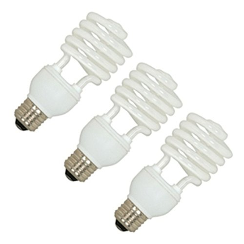 Satco S6284 Mini Spiral Compact Fluorescent Light Bulbs (3-Pack), 23 Watt, 120 Volts, 1600 Initial Lumens, T2 Lamp Shape, Medium Base, E26 ANSI Base, 3500 Kelvin Temp, 82 CRI ()