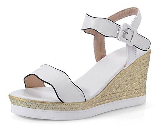 Weiß Sandalen Knöchelriemen Aisun Keilabsatz Schuhe Plateau Chic Damen Pwngv