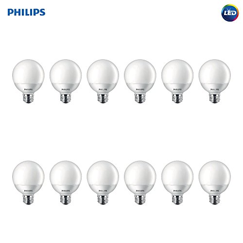 Philips LED Non-Dimmable G25 Frosted Light Bulb: 500-Lumen, 2700-Kelvin, 6.5-Watt (60-Watt Equivalent), E26 Base, Soft White, 12-Pack