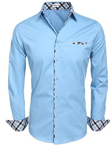 Hotouch Men's Cotton Long Sleeve Plaid Slim Fit
