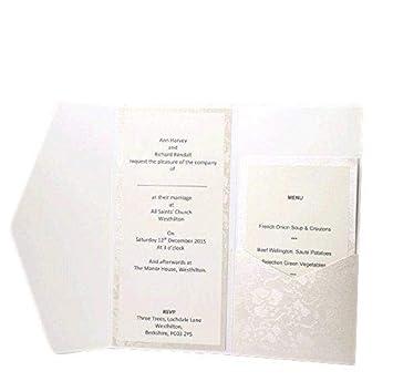 fb885372eb1dd Wedding Wonders Inari pocketfold Einladungen Bright Weiß Broderie Vintage  Floral Geprägt inklusive Karte und Papier Einsätze & Umschläge x 10